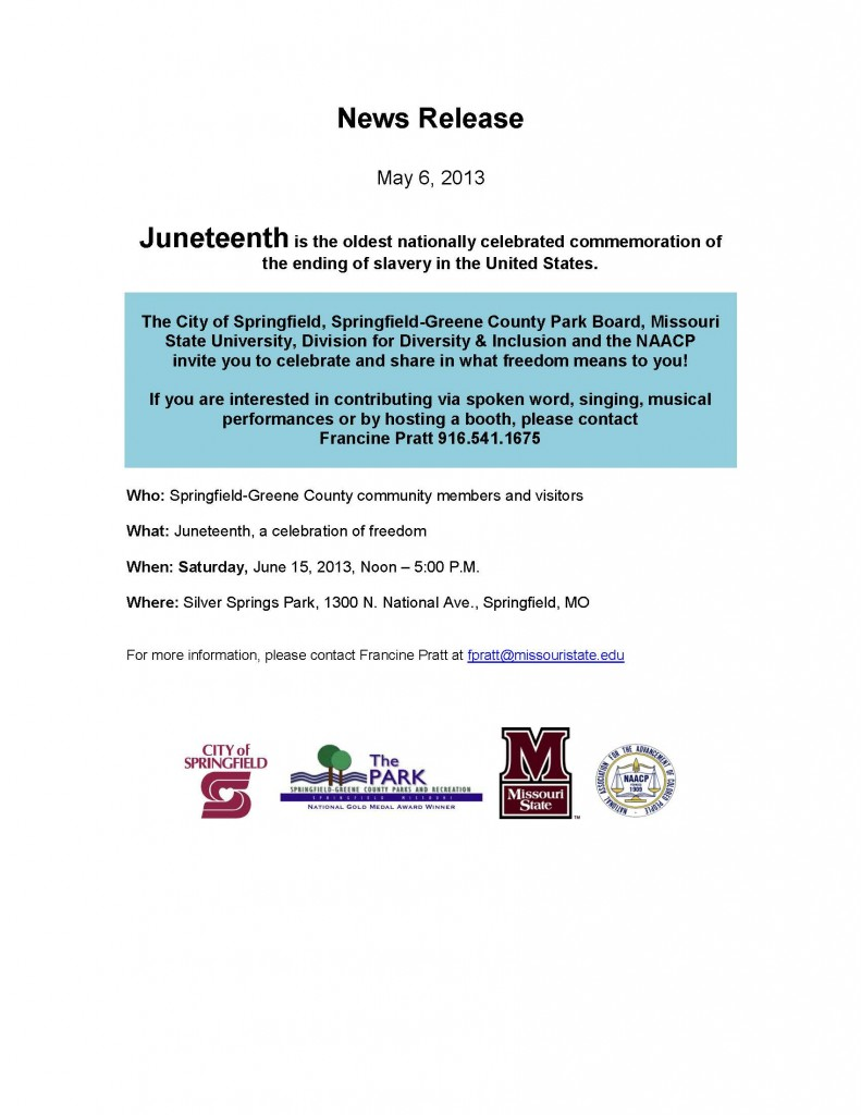 Juneteenth News Release Draft 05 05 2013