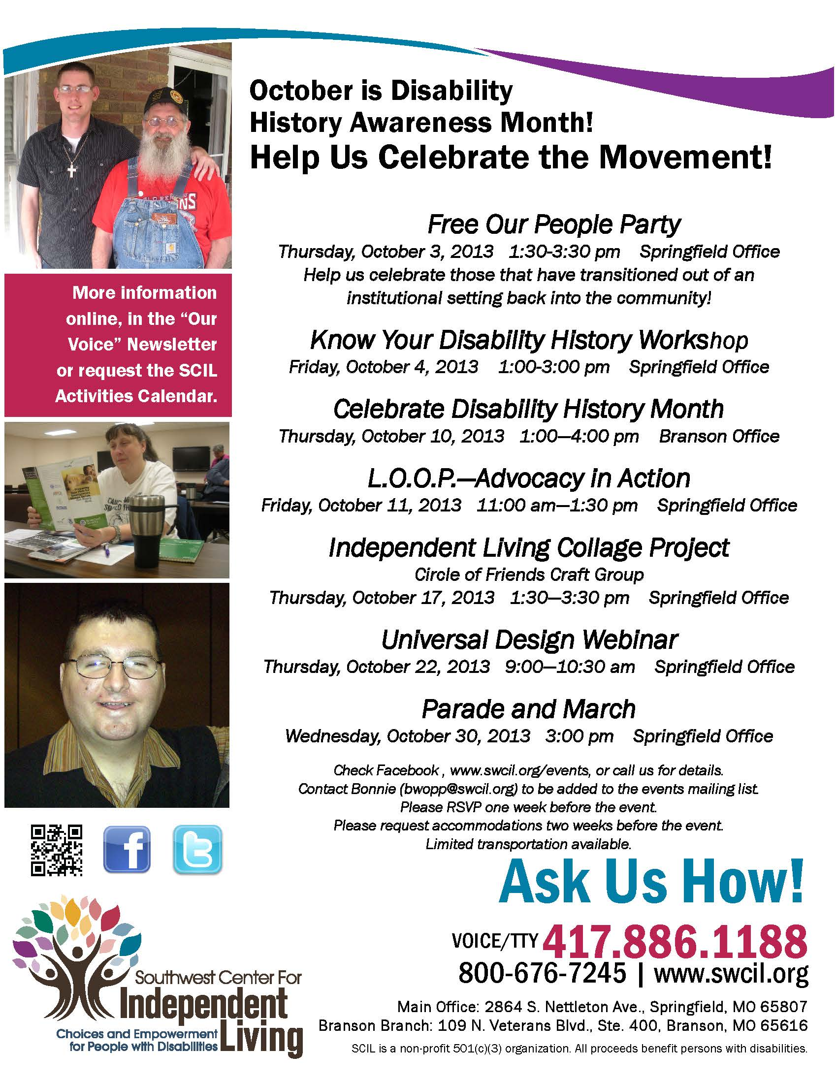 Celebrating Voices October 30th Your >> Swcil Disability History Awareness Month Celebrations