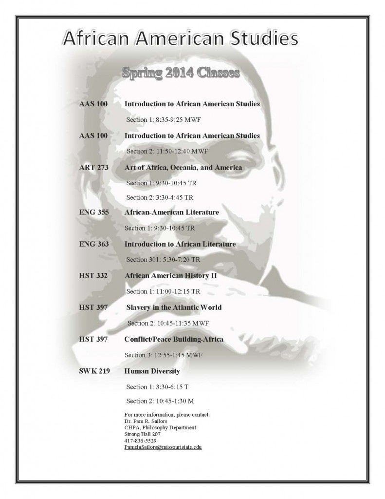 African American Studies minor courses in SP 14