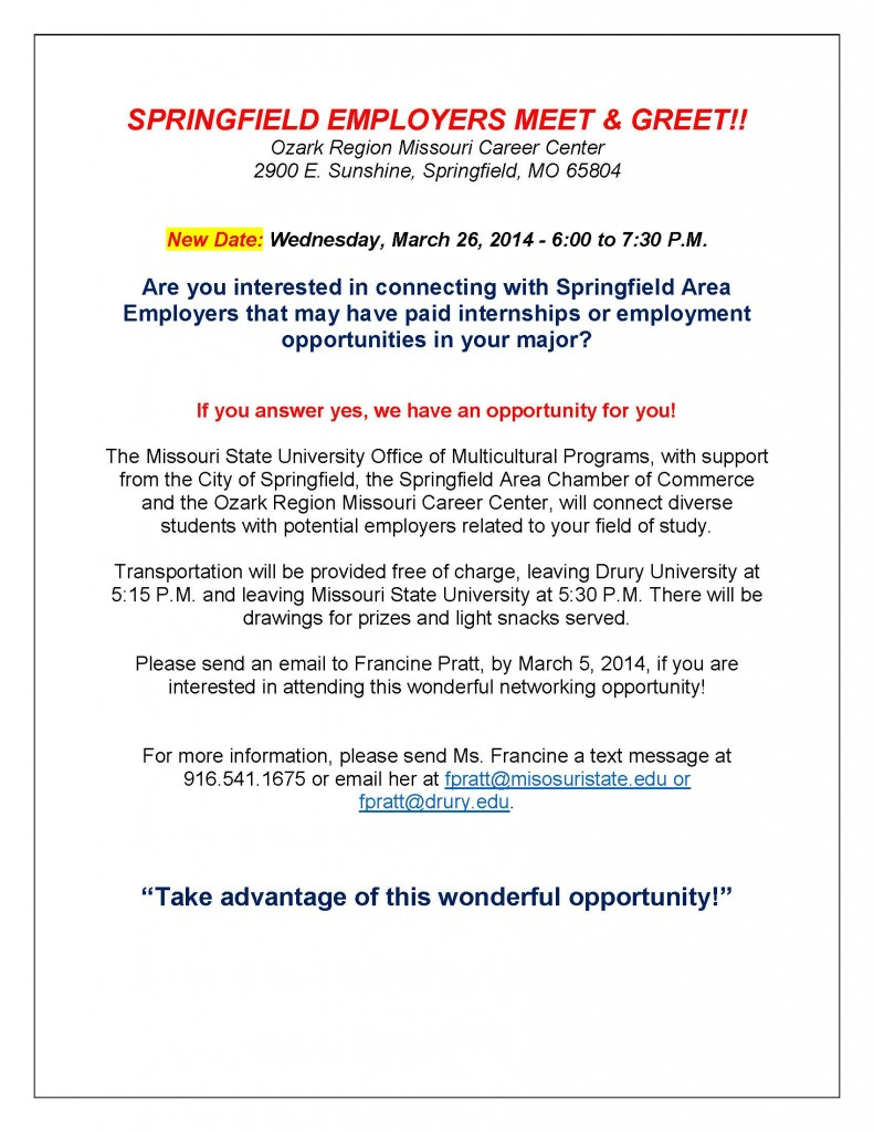 SPRINGFIELD EMPLOYERS MEET  GREET FLIER UPDATED 02 10 2014