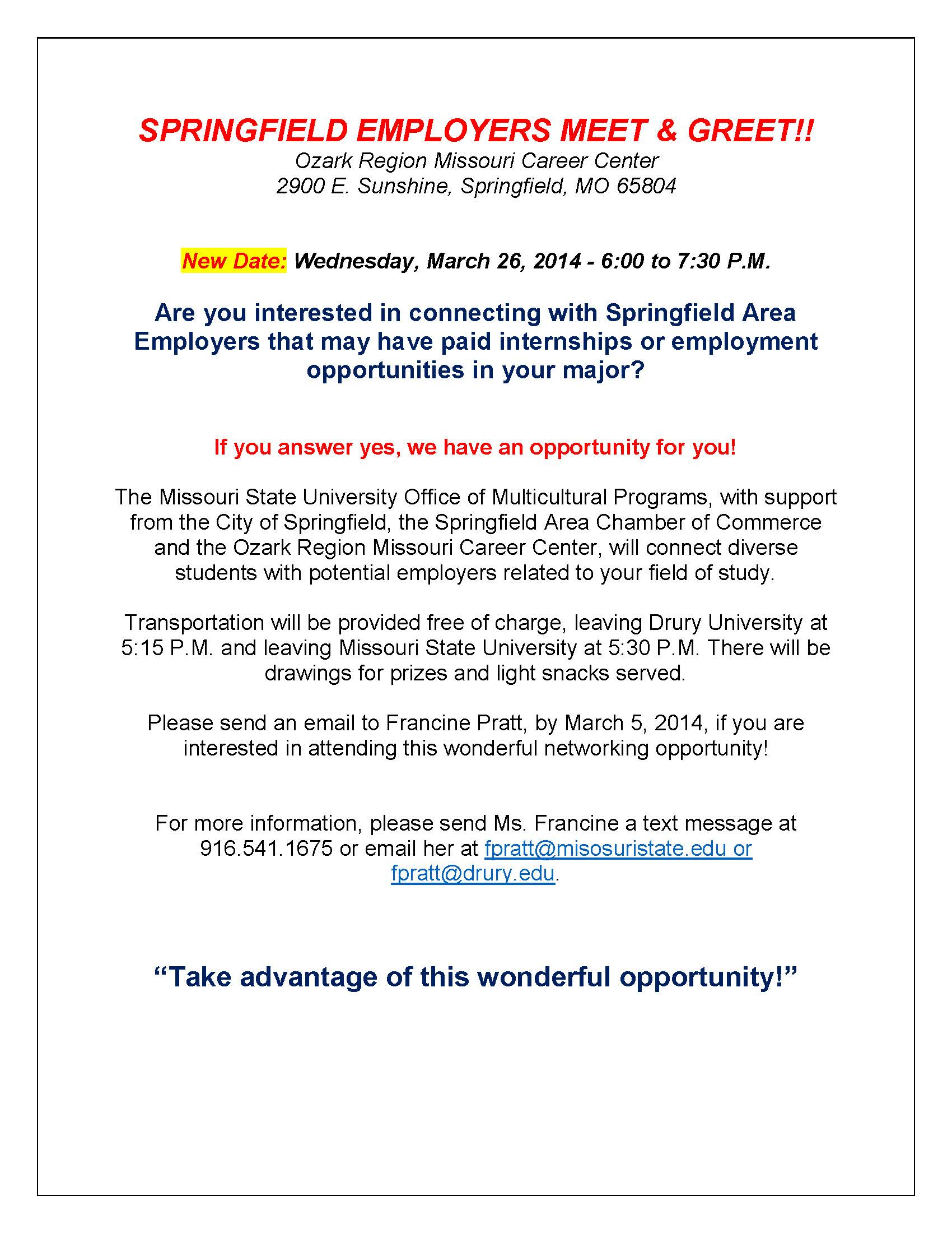 Springfield Employers Meet And Greet New Date