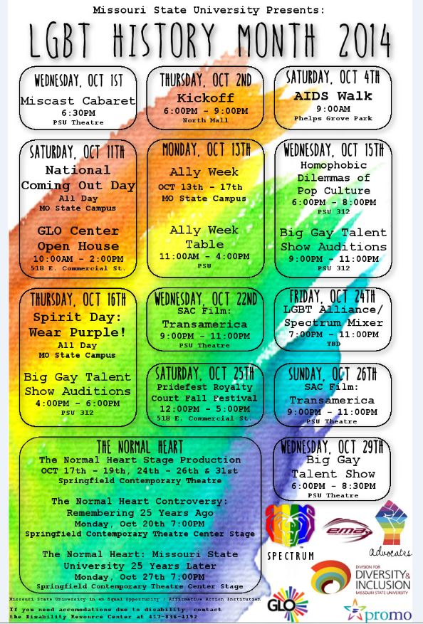 LGBT History Month Events Calender
