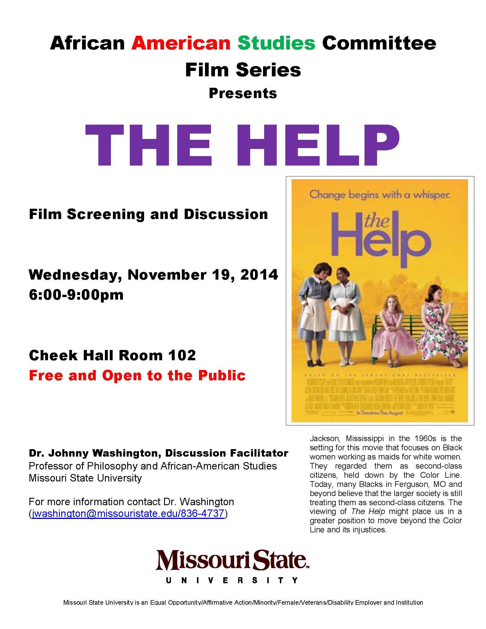 African American Studies Committee Film Series: The Help