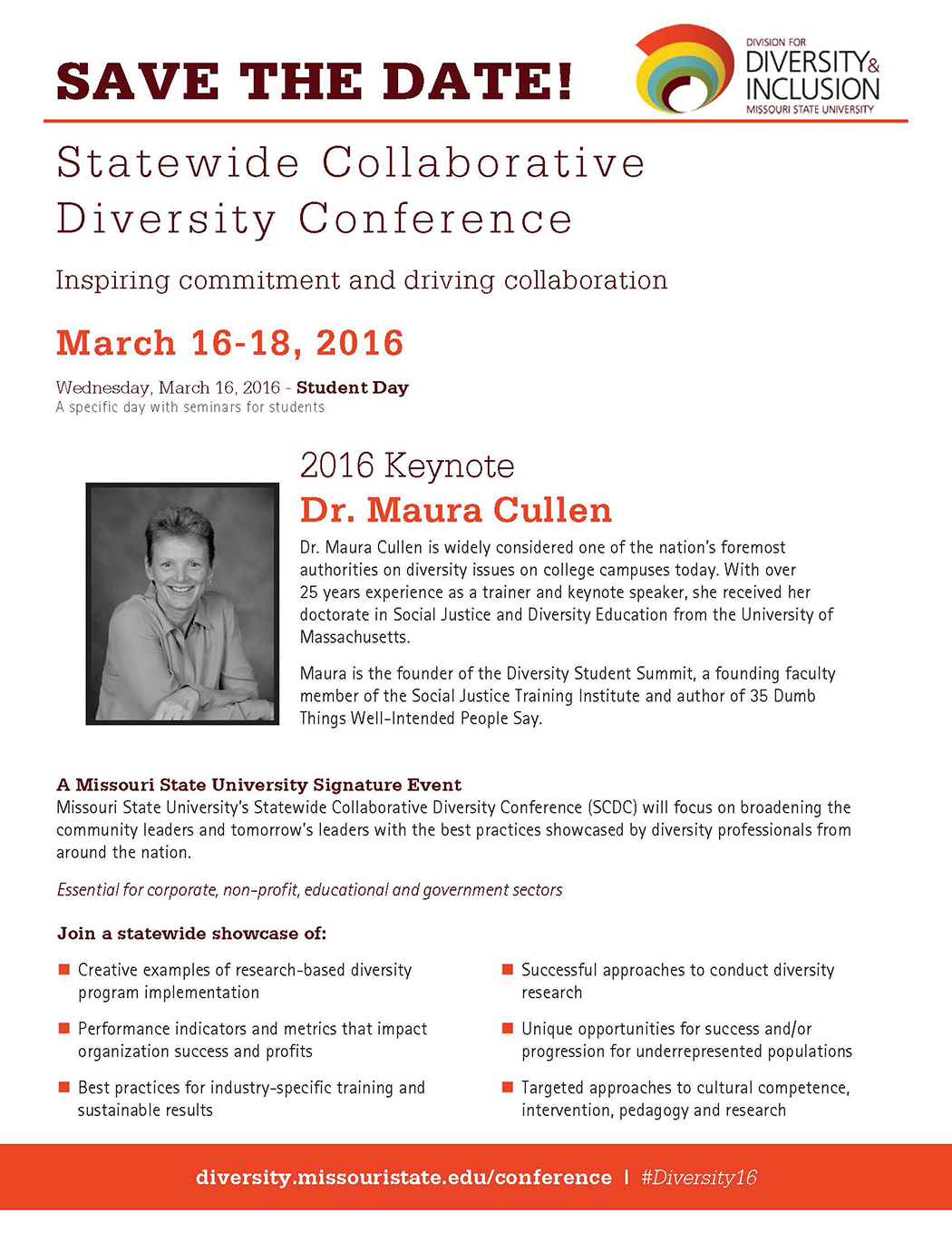 SAVE THE DATE! 2016 Statewide Collaborative Diversity Conference