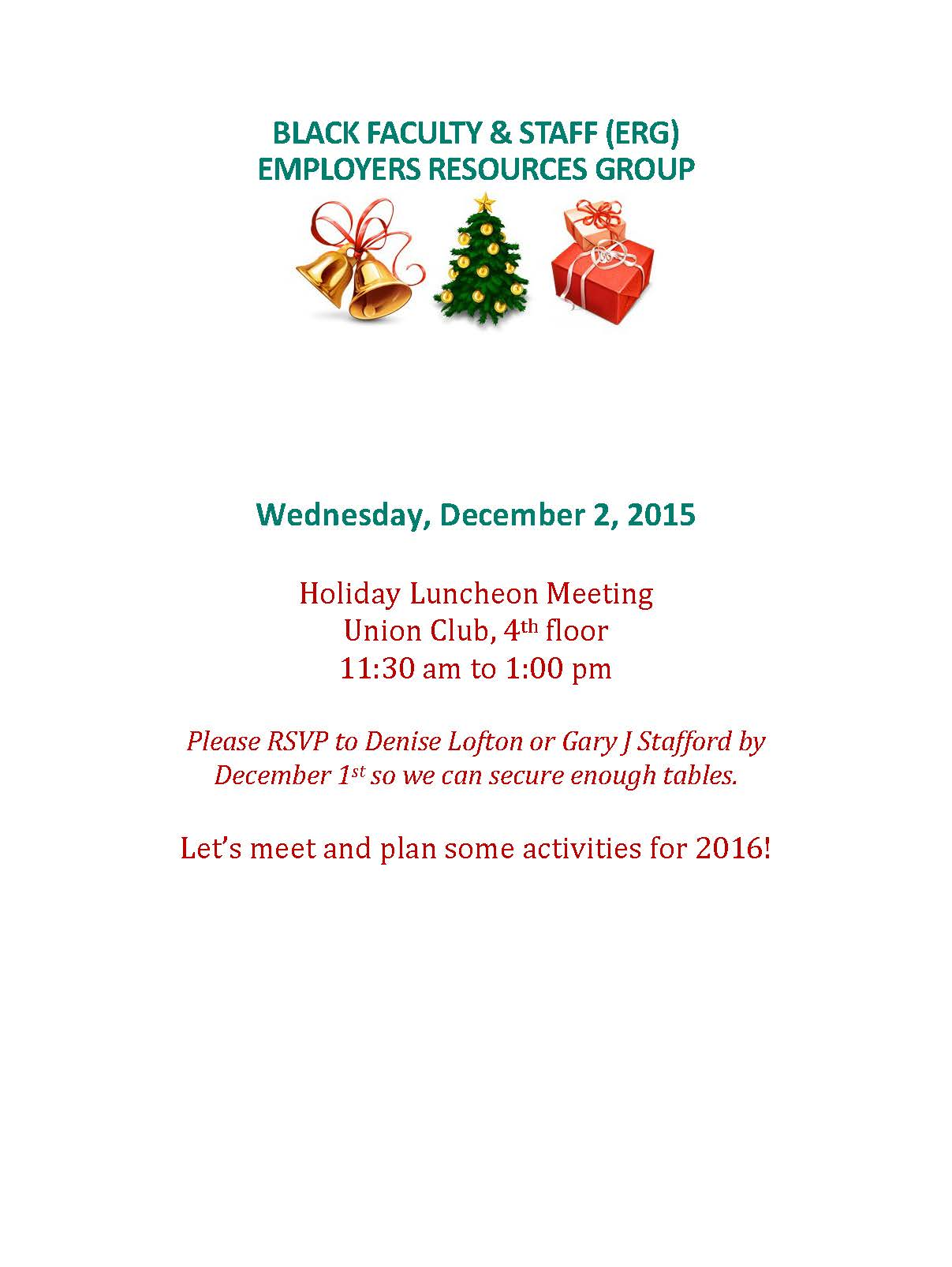 Black Faculty & Staff ERG Holiday Lunch Meeting