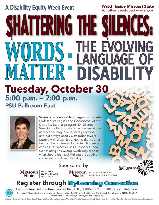 Flyer for Disability Equity Week Event 'Shattering The Silences'