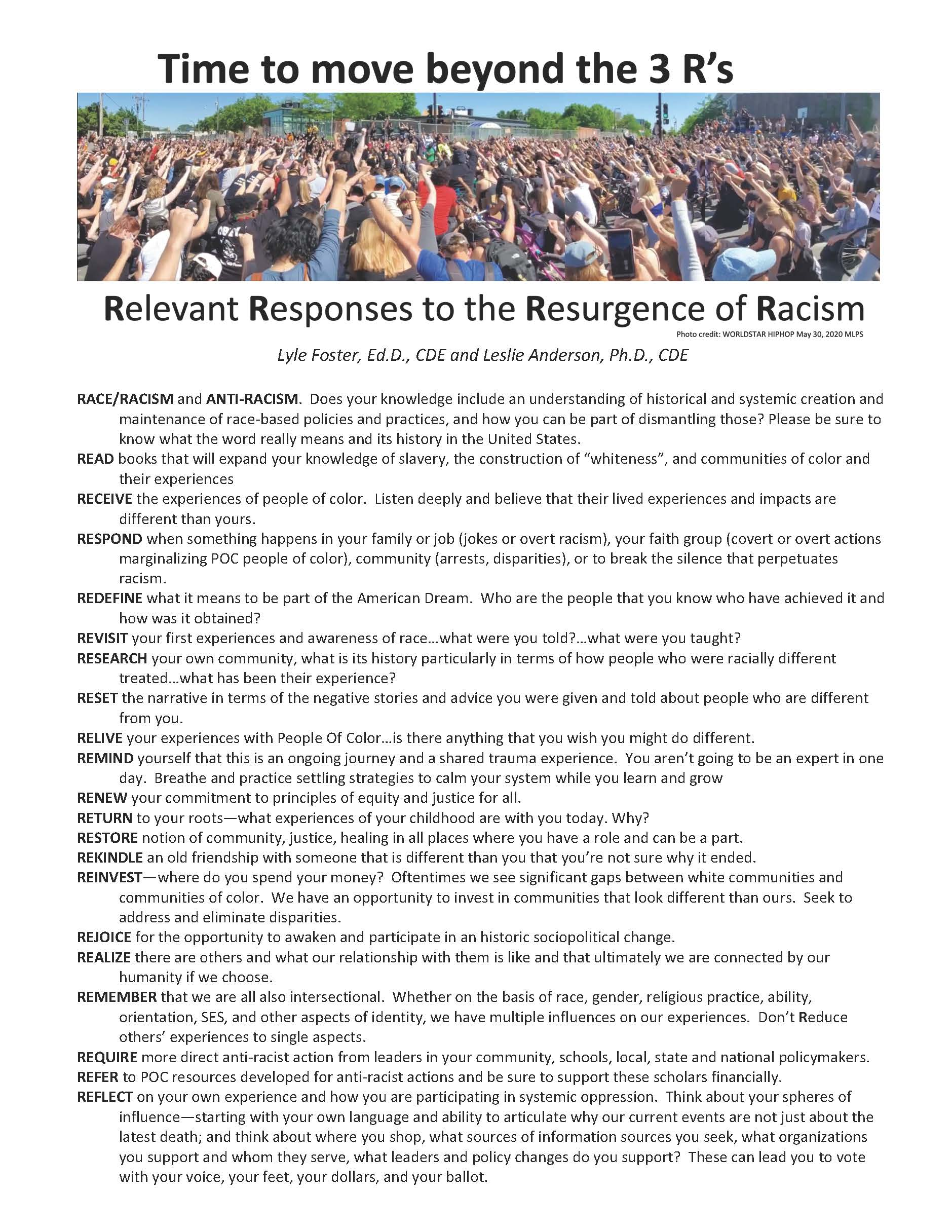 Image of Relevant responses to the resurgence of racism document. PDF link available below image.