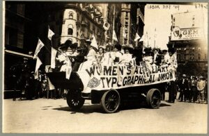 Woman on float in Labor Day parade in New York