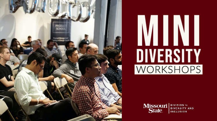 Mini Diversity Workshops text with image of people sitting in a lecture