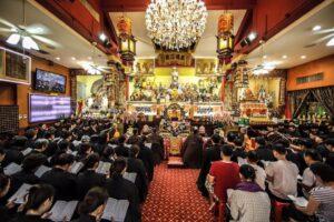People praying during Ullambana Festival