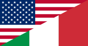 Flag of American and flag of Italy combined into one image