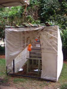 Photo of a Sukkah used in the Jewish celebration of Sukkot for meals