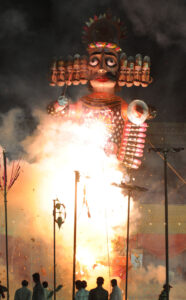 Photo of a burning Ravana effigy at a Dussehra celebration