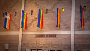 Photo of pride flags hanging in a church in Washington, D.C.