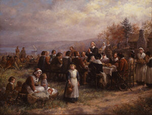 A recreation of Brownscombe's 1914 painting of the first Thanksgiving at Plymouth