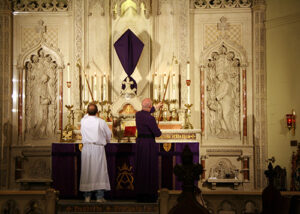 Photo of an altar set up for Ash Wednesday