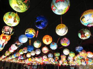 Photo of lanterns at night at Lantern Festival in Tiawan