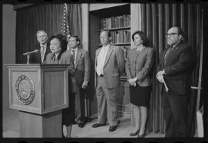 Patsy Mink and other officials announce the formation of the congressional Asian Pacific American Caucus