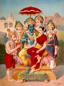 Rama and Sita with Hanuman and Rama's three brothers Lakshmana, Bharata and Shatrughna