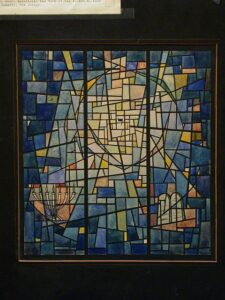 Stained glass window showing difference Jewish symbols