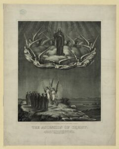 Black and white image of the ascension of Christ