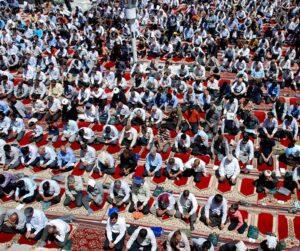 Photo of hundreds of men at an Eid ul-Fitr prayer service in Nishapur, 2012