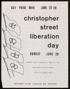 1970 Christopher Street Liberation Day flier. Text: Christopher Street Liberation Day Sunday June 28 Assembly point: Sheridan Sq. area 12-1 p.m. Mass march up sixth avenue Gay-in in Central Park Christopher Street Liberation Day Committee