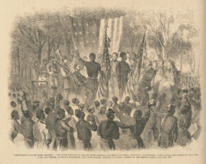 Illustration shows the First South Carolina Volunteers' color guard addressing a joyful crowd of African Americans after the reading of the Emancipation Proclamation on January 1, 1863.