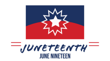 Juneteenth flag - blue on the top half and red on the bottom half with a white star in the middle; text under flag: Juneteenth June Nineteen
