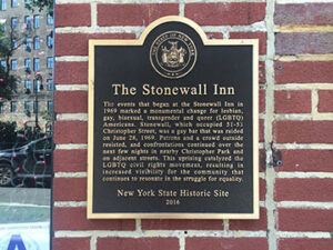 A plaque at the Stonewall Inn describing the events of June 28, 1969.