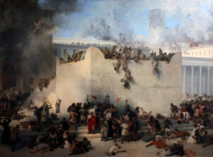 A historical painting of the destruction of the Temple of Jerusalem