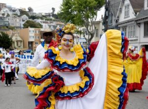 Lady dressed in traditional Hispanic dress at Carnaval in San Fransisco, CA