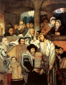 A painting of Jews praying in a synagogue on Yom Kippur