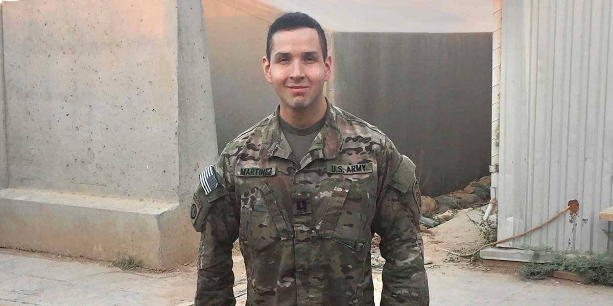 Nick Martinez in military uniform.