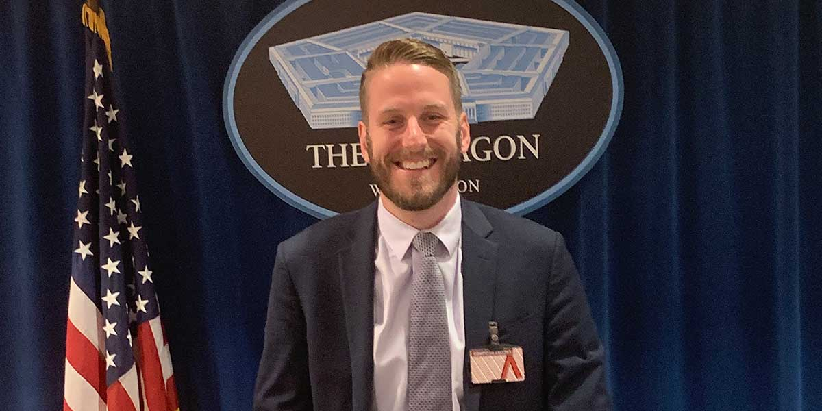 Phil Heaver at the podium at The Pentagon.