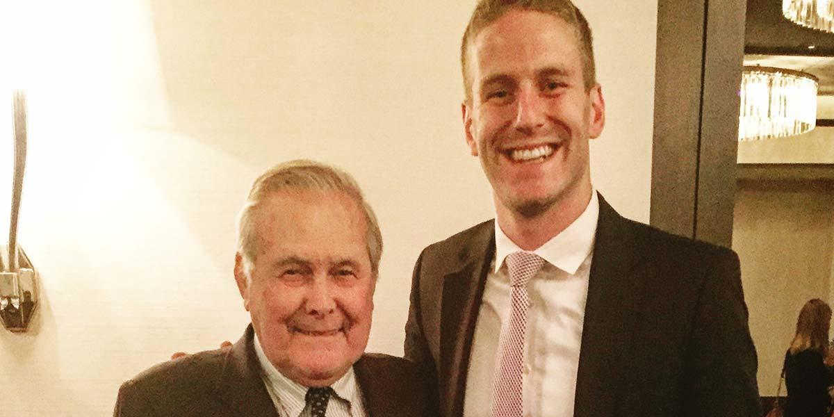 Phil Heaver and Donald Rumsfeld.