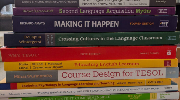Photo of a stack of textbooks (Photo Credit: iELT-Ozarks Project)