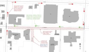 Lane closure and detour map for Cherry Street Project