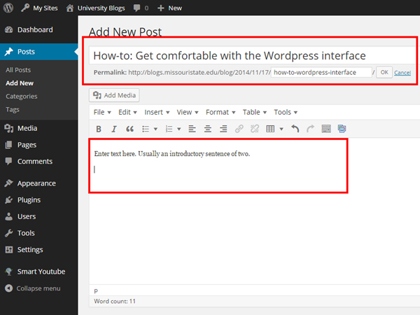 The title field and content field of the WordPress administrative interface