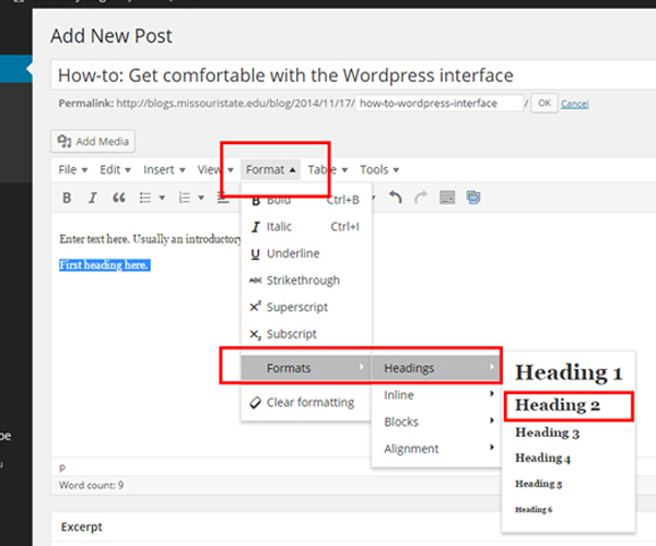 Select headings from the WordPress Format menu