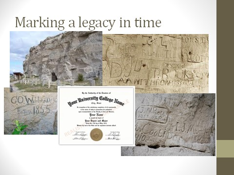 Several photos of Register Rock, including close ups of names and dates etched into the rock. Plus an image of a college diploma. Text states: Marking a legacy in time.