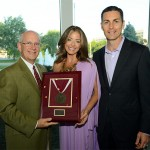 Kim and Patrick Harrington are presented the Founders Medallion by President Clif Smart