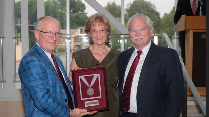David Fraley (right) is pictured here with his wife Deborah and Missouri State President Clif Smart.