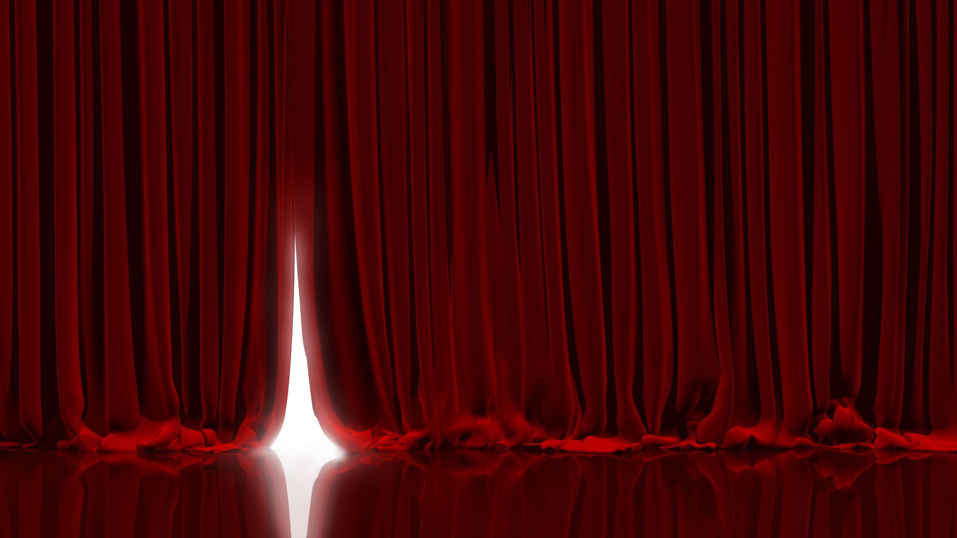 red stage curtain opening