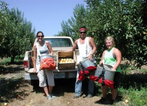 Noelle, Ruben and Kayla pause for a group shot with their Gala apple harvest.