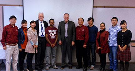 The group from left to right included Dr. Wenping Qiu, Rong Qu, Jia Wang, Dr. Jim Baker, Surya Sapkota, Dr. Anson Elliott, Dr. Chin-Feng Hwang, Hui Ge, Chunling Chen, Qiang Gua and Dandan Liu.