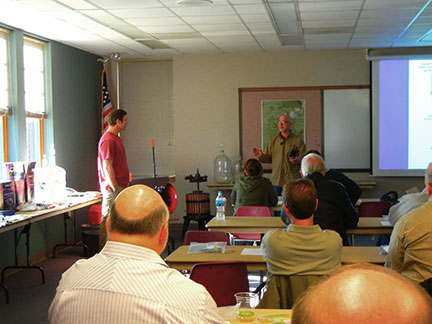 Mr. Todd Frye (left) and Dr. Karl Wilker presented information on home winemaking.