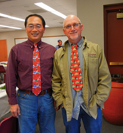 Chin Feng and Karl model tacky ties.