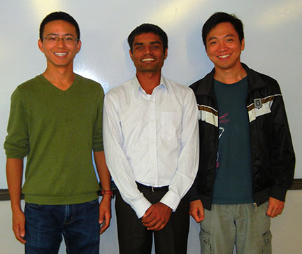 Congratulations to Xu Chen (left), Surya Sapkota (center) and Hui Ge (right) on their newly earned Masters Degrees.