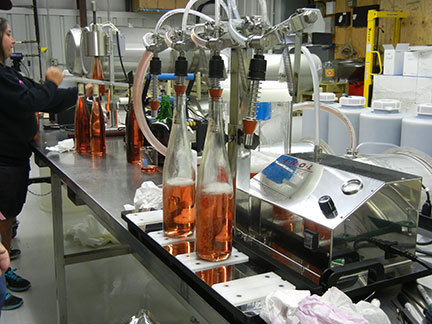 The bottles are sparged with nitrogen and then filled.
